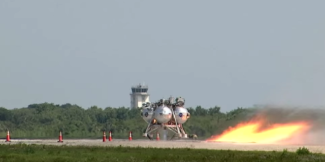 A free-flight test of the Morpheus prototype lander was conducted April 24 at the Shuttle Landing Facility at NASA's Kennedy Space Center in Florida. A free-flight test of the Morpheus prototype lander was conducted April 24 at the Shuttle Landing Facility at NASA's Kennedy Space Center in Florida. Credit: NASA